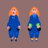Красные с волосами женщины pleb в голубых платьях иллюстрация штока