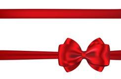 Красные тесемка и смычок карточки подарка для украшений стоковая фотография rf