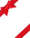 Красные тесемка и смычок Стоковое Фото