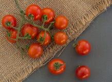 Красные томаты вишни на серой предпосылке Стоковое Изображение RF