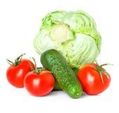 Красные томаты, зеленые огурцы и капуста Стоковые Фотографии RF
