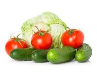 Красные томаты, зеленые огурцы и капуста Стоковое Фото