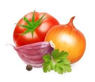 Красные томат и специя листьев базилика Стоковые Изображения RF