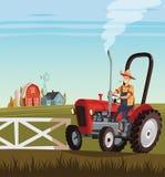 Красные трактор и водитель на мелком крестьянском хозяйстве Стоковые Изображения RF