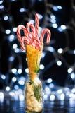 Красные тросточки конфеты в конусе Waffle мороженого Стоковая Фотография