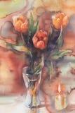 Красные тюльпаны с акварелью свечи Стоковые Фотографии RF