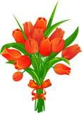 Красные тюльпаны с лентой Стоковые Фото