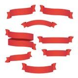 Красные установленные знамена ленты сети иллюстрация конструкции играет главные роли вектор иллюстрация вектора