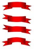 красные установленные тесемки Стоковое Изображение RF
