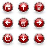 Красные установленные значки сети Стоковая Фотография