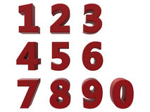 красные установленные номера 3D Стоковые Изображения