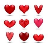 Красные установленные сердца Стоковое Изображение
