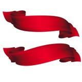 красные установленные тесемки Стоковые Изображения RF