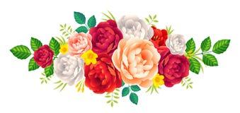 Красные, фиолетовые и розовые пионы vector флористический букет, украшение года сбора винограда карточки свадьбы Стоковые Изображения