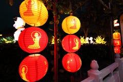 Красные фонарики на китайском виске Стоковое фото RF