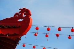 Красные фонарики на китайском виске Стоковые Фотографии RF