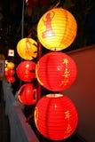 Красные фонарики на китайском виске Стоковая Фотография RF