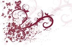 Красные флористические свирли Стоковая Фотография RF
