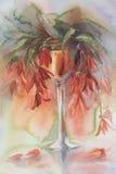 Красные цветки в акварели вазы Стоковое фото RF