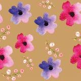 Красные цветки в акварели Стоковое фото RF