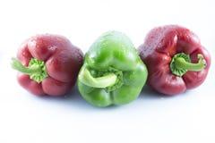 Красные цветы и зеленые перцы Стоковое фото RF