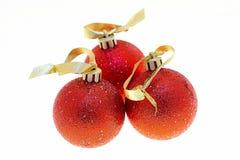красные цветы christmass шариков Стоковая Фотография