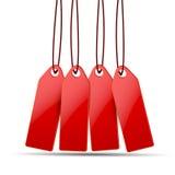 Красные ценники на белизне Стоковые Изображения RF