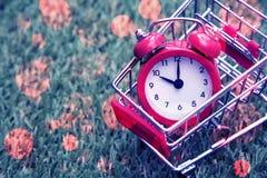 Красные часы на корзине, нехватка времени, непродуктивная трата времени, покупающ время, ходя по магазинам концепция, концепция д стоковая фотография