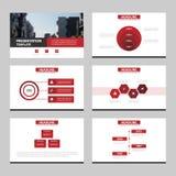 Красные черные абстрактные шаблоны представления, дизайн шаблона элементов Infographic плоский установили для листовки рогульки б Стоковая Фотография RF