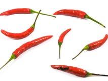 Красные чили с белой предпосылкой стоковая фотография rf