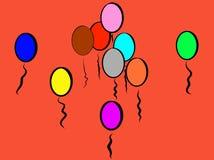 Красные шаловливые красочные воздушные шары, который нужно усмехнуться около; Он как огонь иллюстрация штока