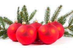 Красные шарики рождества и ветвь ели Стоковые Фотографии RF