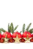 Красные шарики рождества и ветвь ели Стоковое фото RF