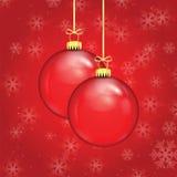 Красные шарики рождества на ленте золота Стоковая Фотография RF