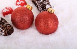 Красные шарики рождества Стоковая Фотография