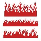 Красные элементы пламени для бесконечной границы Стоковые Фотографии RF