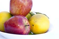 Красные яблоки и померанцы Стоковые Изображения