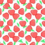 Красные яблоки на белой предпосылке, безшовной картине Мода d еды бесплатная иллюстрация
