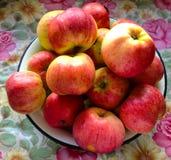 Красные яблоки на таблице стоковые фотографии rf