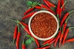 Красные chili и порошок chili Стоковые Изображения RF