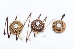 Красные donuts студня с арахисовым маслом Стоковые Фотографии RF