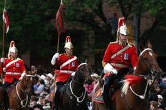 Красные lancers в параде Стоковое Изображение