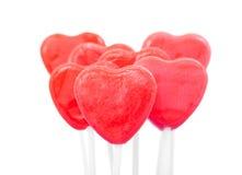 Красные Lollipops сердца Стоковое Фото