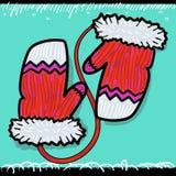 Красные mittens рождества Стоковая Фотография RF