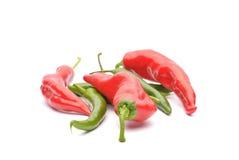 Красные pappers и изолированные перцы chili Стоковые Изображения RF