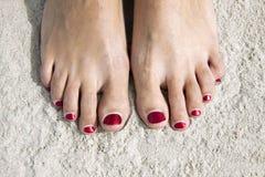 Красные toenails стоковое изображение rf