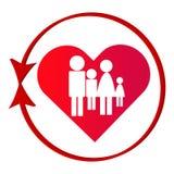 Красный абстрактный символ семьи при сердце изолированное на белой предпосылке Стоковое Изображение