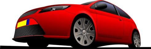 Красный автомобильн coupe на дороге , бесплатная иллюстрация