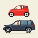 Красный автомобиль города ompact  Ñ и черный автомобиль suv бесплатная иллюстрация