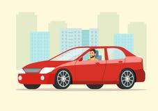 Красный автомобиль седана с взглядом со стороны человека водителя иллюстрация штока